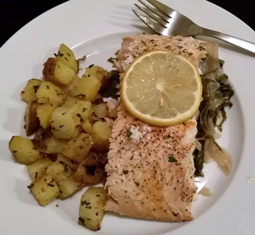 Salmon over Organic Mizuna Greens - Eat-in With YiaYia